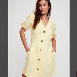 NWT Aritzia Wilfred Yellow Caprice Linen Dress